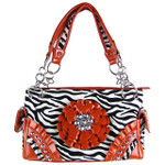 RED ZEBRA RHINESTONE FLOWER SHOULDER HANDBAG HB1-W32FZRED