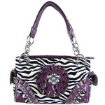 PURPLE ZEBRA RHINESTONE FLOWER SHOULDER HANDBAG HB1-W32FZPPL