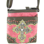 HOT PINK WESTERN RHINESTONE CROSS LOOK MESSENGER BAG MB1-M34LCRHPK