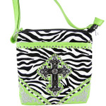 GREEN ZEBRA STUDDED RHINESTONE CROSS  LOOK MESSENGER BAG MB1-MFZLCRGRN