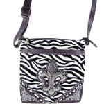 PURPLE ZEBRA STUDDED RHINESTONE FLUER DE LIS LOOK MESSENGER BAG MB1-MW2BFZPPL