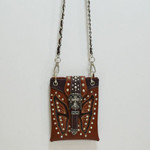 BROWN STUDDED RHINESTONE BUTTERFLY MINI MESSENGER BAG MB2-0412BRN