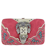 HOT PINK RHINESTONE BUCKLE WESTERN FLAT THICK WALLET FW2-12114HPK