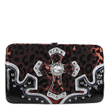 RED LEOPARD RHINESTONE CROSS LOOK FLAT THICK WALLET FW2-0403RED