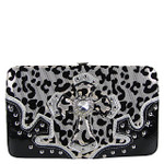 WHITE LEOPARD RHINESTONE CROSS LOOK FLAT THICK WALLET FW2-0403WHT