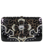 BROWN LEOPARD RHINESTONE CROSS LOOK FLAT THICK WALLET FW2-0403BRN