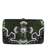 GREEN METALLIC LACE RHINESTONE CROSS LOOK FLAT THICK WALLET FW2-0423GRN