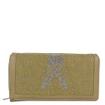 TAN RHINESTONE SKULL LOOK CHECKBOOK WALLET CB1-1277TAN