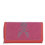 HOT PINK RHINESTONE SKULL LOOK CHECKBOOK WALLET CB1-1277HPK