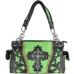 GREEN WESTERN RHINESTONE CROSS LOOK SHOULDER HANDBAG HB1-43LCRGRN