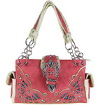 HOT PINK RHINESTONE BUCKLE LOOK SHOULDER HANDBAG HB1-39W70HPK
