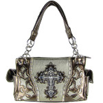 SILVER WESTERN RHINESTONE CROSS LOOK SHOULDER HANDBAG HB1-43LCR-1SLV