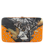 ORANGE MOSSY CAMO DEER DESIGN FLAT THICK WALLET FW2-1271ORG