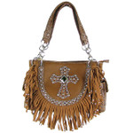 BROWN RUFFLE RHINESTONE CROSS LOOK SHOULDER HANDBAG HB1-HC0062BRN