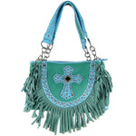 TURQUOISE RUFFLE RHINESTONE CROSS LOOK SHOULDER HANDBAG HB1-HC0062TRQ