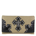 BEIGE RHINESTONE STUDDED CROSS LOOK CHECKBOOK WALLET CB1-0452BEI