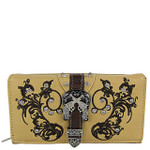BEIGE RHINESTONE STUDDED BUCKLE WITH PISTOL LOOK CHECKBOOK WALLET CB1-1278BEI