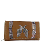 BROWN CAMO RHINESTONE STUDDED PISTOL LOOK CHECKBOOK WALLET CB1-1280BRN
