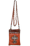 ORANGE OSTRICH RHINESTONE CROSS MINI MESSENGER BAG MB2-0411ORG
