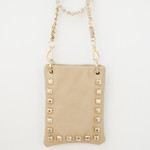 BEIGE GOLD STUDS MINI MESSENGER BAG MB2-1212BEI