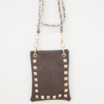 BROWN GOLD STUDS MINI MESSENGER BAG MB2-1212BRN