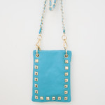 TURQUOISE GOLD STUDS MINI MESSENGER BAG MB2-1212TRQ