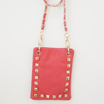 HOT PINK GOLD STUDS MINI MESSENGER BAG MB2-1212HPK