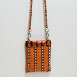 ORANGE OSTRICH STUDDED RHINESTONE MINI MESSENGER BAG MB2-1208ORG