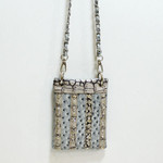 GRAY OSTRICH STUDDED RHINESTONE MINI MESSENGER BAG MB2-1208GRY