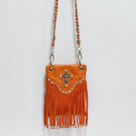 ORANGE CROCODILE RUFFLES STUDDED RHINESTONE CROSS MINI MESSENGER BAG MB2-0408ORG