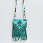 TURQUOISE CROCODILE RUFFLES STUDDED RHINESTONE CROSS MINI MESSENGER BAG MB2-0408TRQ