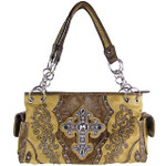 BROWN RHINESTONE BUCKLE LOOK SHOULDER HANDBAG HB1-63LCRBRN