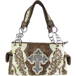 BEIGE RHINESTONE BUCKLE LOOK SHOULDER HANDBAG HB1-63LCRBEI