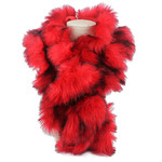 RED FUR COTTON NECK SCARF NS1-0153RED