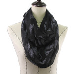 BLACK OWL PRINT LONG COTTON NECK SCARF NS1-0157BLK