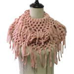 PINK FRINGE PRINT LONG COTTON NECK SCARF NS1-0164PNK