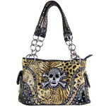 BROWN LEOPARD SKULL LOOK SHOULDER HANDBAG HB1-CHF0060BRN