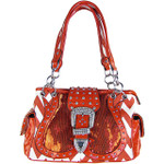 RED CHEVRON SEQUENCE BUCKLE LOOK SHOULDER HANDBAG HB1-AB8558RED
