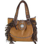 LIGHT BROWN RHINESTONE FLOWER BUCKLE LOOK SHOULDER HANDBAG HB1-CHF116LBRN