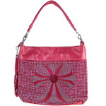 HOT PINK FLOWER STUDDED LASER CUT DESIGN LOOK SHOULDER HANDBAG HB1-3716HPK