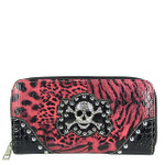 HOT PINK STUDDED LEOPARD SKULL LOOK ZIPPER WALLET CB3-1203HPK