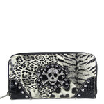 BLACK STUDDED LEOPARD SKULL LOOK ZIPPER WALLET CB3-1203BLK