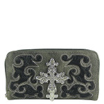 GRAY WESTERN TOOLED CROSS LOOK ZIPPER WALLET CB3-0400GRY