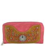 HOT PINK WESTERN STUDDED RHINESTONE LOOK ZIPPER WALLET CB3-1200HPK