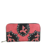 HOT PINK STUDDED RHINESTONE LOOK ZIPPER WALLET CB3-1201HPK