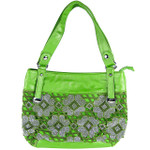 GREEN FLOWER RHINESTONE LOOK SHOULDER HANDBAG HB1-6132GRN