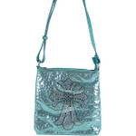 TURQUOISE RHINESTONE CROSS LOOK MESSENGER BAG MB1-8473TRQ