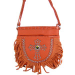 CORAL STUDDED RHINESTONE CROSS LOOK MESSENGER BAG MB1-HC0070-1CRL