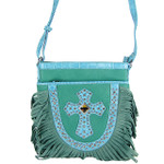 TURQUOISE STUDDED RHINESTONE CROSS LOOK MESSENGER BAG MB1-HC0070-1TRQ