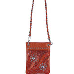 RED METALLIC  RHINESTONES FLOWER MINI MESSENGER BAG MB2-1214RED